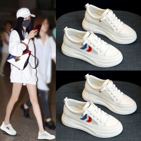 厚底小白鞋子女学生韩版老爹鞋女百搭休闲网面透气板鞋