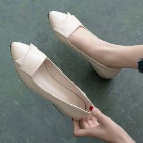 平底单鞋浅口粗跟尖头女鞋软皮软底百搭皮鞋工作鞋