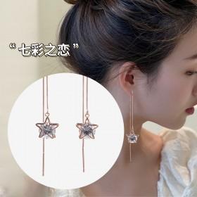 星星耳线18K玫瑰金简约超仙学生气质小众设计感超长