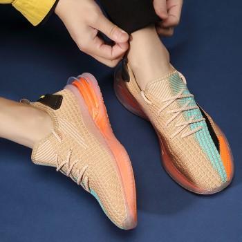 椰子鞋350男新款夏季飞织网面爆米花运动鞋