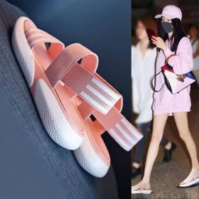 凉鞋chic网红仙女鱼嘴夏厚底松糕学生韩版平底女鞋