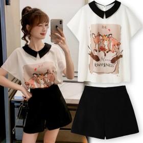 韩版时尚宽松百搭蝙蝠袖雪纺衫短裤女两件套