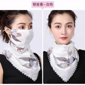 夏季口罩护颈面罩女雪纺印花面纱丝巾防尘挂耳式遮阳围