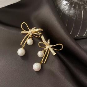 耳钉法式长款流苏珍珠日韩系个性镶钻网红耳坠耳饰女
