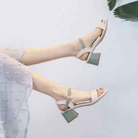 凉鞋韩版百搭中跟粗跟一字扣带仙女风罗马高跟鞋女鞋