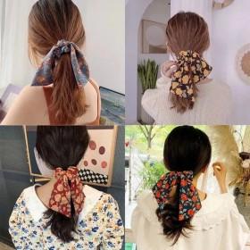 碎花发带复古发圈韩国扎头发皮筋头绳雪纺蝴蝶结法式马