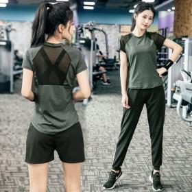 夏季运动套装女瑜伽服网红速干衣健身房跑步宽松晨跑健