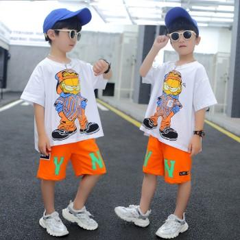 男童夏装套装2021年新款潮儿童装夏季短袖洋气帅气