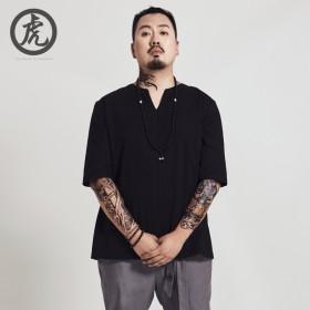 原创中国风夏季薄款五分袖衬衫大码男肥佬加肥加大衬衣