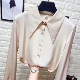 法式小众珍珠纽扣尖领雪纺衫女春装宽松洋气丝绸