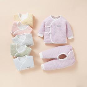 【两件套】婴儿童空气棉套装衣服裤子纯棉保暖三层夹棉