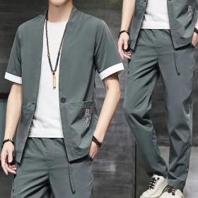 新款男套装夏季短袖中国风休闲复古大码开衫两件套潮流