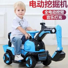 儿童挖掘车玩具可坐可骑挖土工程车遥控型强续航音乐
