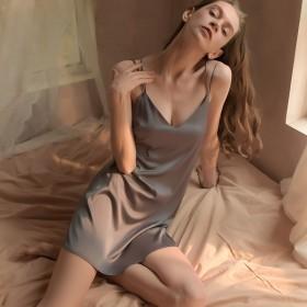 夏季冰丝睡裙女薄款情趣睡衣家居服