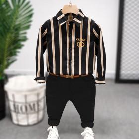 童装男童衬衫套装黑色帅气炸街长袖儿童秋装2021年
