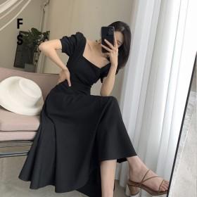 ins赫本黑色连衣裙女2021年夏季新款方领法式复