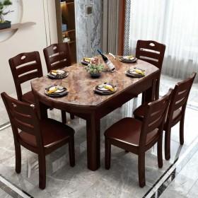 大理石餐桌可伸缩折叠实木餐桌椅组合方圆两用大圆桌家