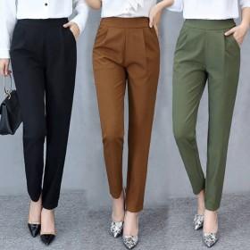 春秋季显瘦高腰弹力女裤子薄款哈伦裤外穿九分裤大码修