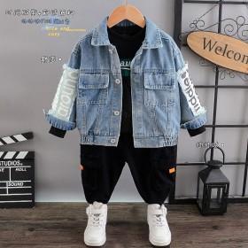 童装男童秋装2021年新款套装小童帅气牛仔小男孩三
