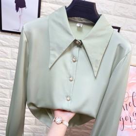 尖领丝绸缎面长袖衬衫女春季洋气白色打底真丝衬衣气质