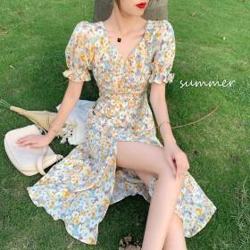 2021夏新款泡泡袖气质中长款短袖V领裙子A字裙法