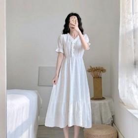 茶歇桔梗法式复古v领连衣裙1夏新款设计感气质女神范