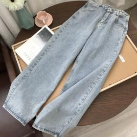 直筒牛仔裤女高腰宽松显瘦阔腿裤复古拖地老爹长裤子