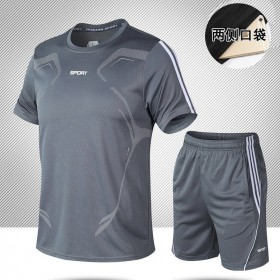 健身透气速干衣运动套装男短裤短袖T恤休闲两件套