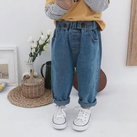 男童白色裤子蓝色女童牛仔裤春秋直筒秋季九分百搭潮帅