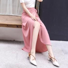 纯色雪纺a字半身裙女百搭中长款高腰裙子