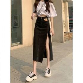 高腰侧开叉牛仔半身裙女2021夏季新款韩版显瘦百