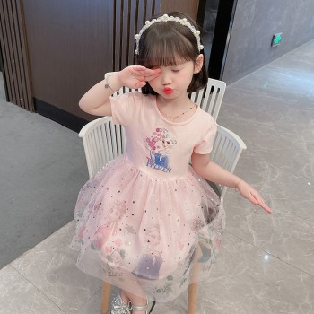 女童裙子2021年新款夏装中小童洋气蓬蓬纱公主裙夏