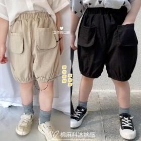 儿童短裤男童棉麻五分裤子夏季韩版灯笼裤薄款哈伦裤潮