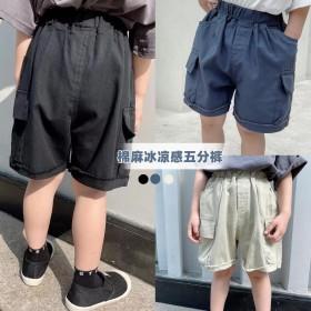 儿童短裤男童运动裤夏季韩版工装裤薄款棉麻五分裤子潮