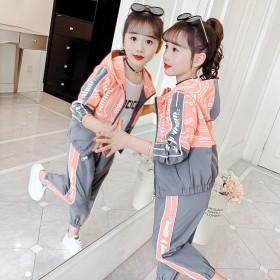 女童春装洋气套装2021新款女孩运动外套网红儿童两