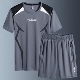 薄款圆领短袖短裤健身跑步运动服套装