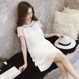 2021新款连衣裙夏装白色拼接超仙短袖雪纺女冷淡风