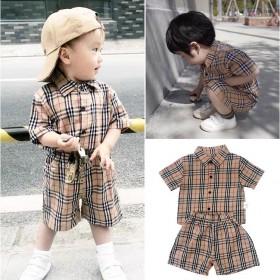 2021夏装新款童装男女童韩版纯棉格子套装