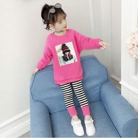 女童秋季套装2021新款小女孩运动休闲纯棉两件套