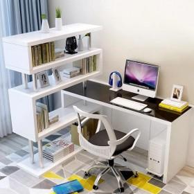 旋转电脑台式桌家用卧室玻璃桌子简易书柜一体转角书桌