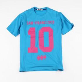 大码男装新款潮牌10号粉色胶印圆领潮胖子短袖T恤蓝