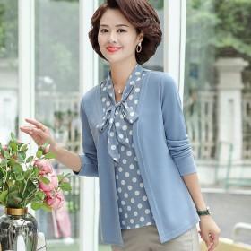长袖t恤衫假两件洋气上衣大码中老年女装遮肚打底衫