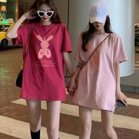 2021夏季新款短袖t恤女夏学生宽松粉色印花上衣