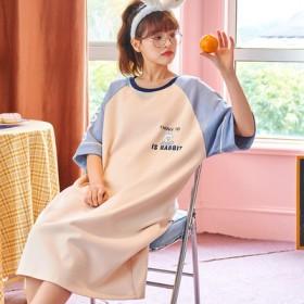 新款连衣裙100%棉短袖长款睡裙可爱学生夏天外穿服