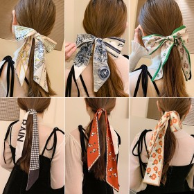 丝巾发带法式复古蝴蝶结发绳女绑发丝带长长条束发飘带