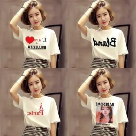 白色短袖t恤女装夏季2021新款字母韩版学生宽松半