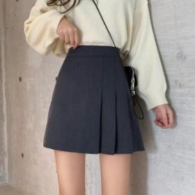 韩版高腰半身裙A字短裙显瘦百褶裙学生小黑裙