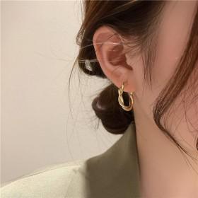 韩国代购麻花耳圈简约925银针耳环冷淡风女气质耳坠