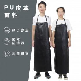 防水防油围裙饭店厨房洗碗工作白黑色加厚不掉围裙
