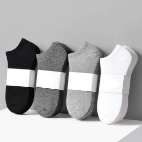 黑白灰船袜浅口涤棉夏季薄款混色潮防臭短筒学生船袜子